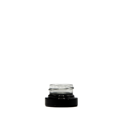 Picture of Thick wall glass concentrate jar - UV Protectant Glossy Black Silver  - Child resistant - 5 ml - 28/400