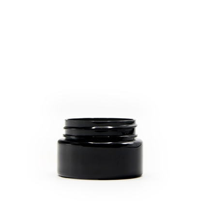 Picture of Straight sided plastic jar - Opaque black PET - Child resistant - Airtight - 2oz - 60ml - 53/400