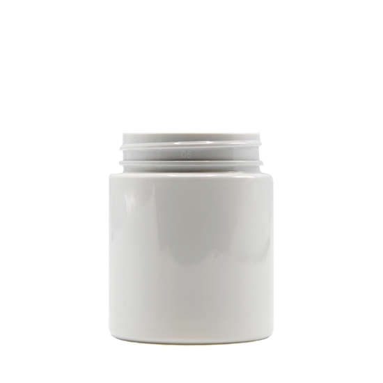 Picture of Straight sided plastic jar - Opaque white PET - Child resistant - Airtight - 40 dram - 120ml - 53/400